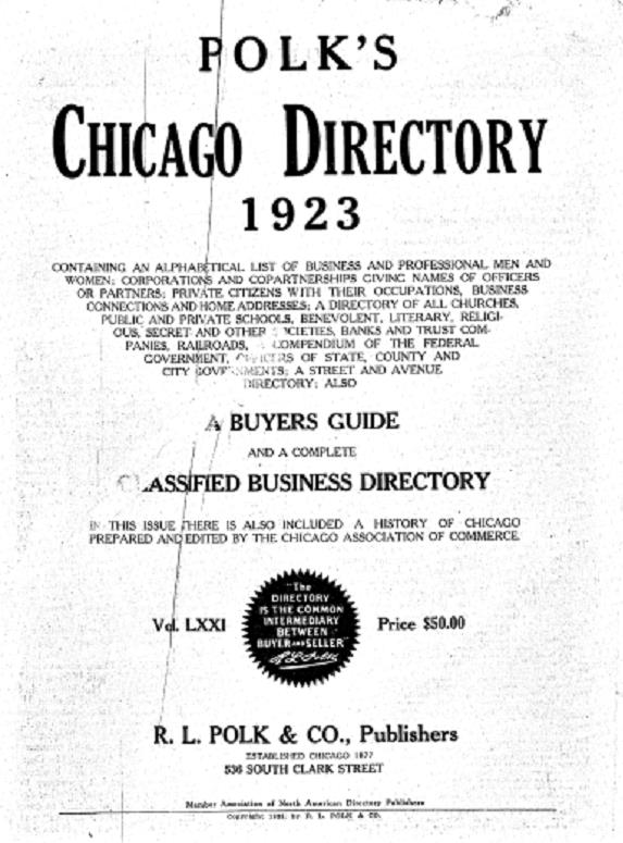 1923 Chicago Directory | ChicagoAncestors org